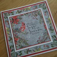 Handmade christmas cards - May the simple joys of the season be yours - 8x8 inch