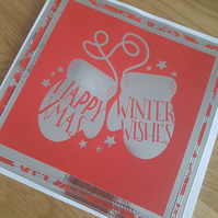Happy xmas , Winter wishes handmade card - Sale, Reduced