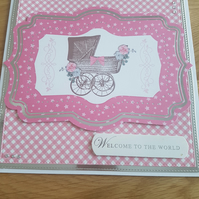 Pink new baby handmade greeting card - Gingham check, Welcome to the world