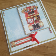 Santa claus is coming to town - Big red bus handmade Christmas card
