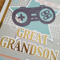 Great grandson handmade birthday card - Friends and family collection