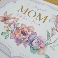 Special mom handmade birthday card - Friends and family collection - Flowers