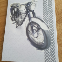 Grey black and white motor bike handmade greeting card - Birthday, retirement