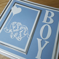 Baby boy handmade greeting card - Newborn, cute elephant, blue