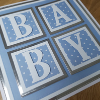 Baby boy handmade greeting card - New baby, baby boy, Maternity leave