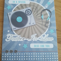 Special father in law handmade greeting card - Birthday - music, DJ