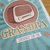 Grandpa handmade greeting card - friends and family collection - Radio,music