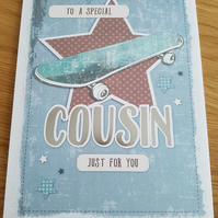 Cousin skateboard greeting card - Friends and family collection