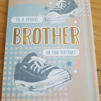 Brother on your birthday - handmade greeting card - Trainers, pumps, sneakers