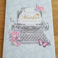 Handmade Mother birthday card - typewriter - friends and family collection