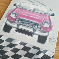 Passed driving test handmade card - Pink sports car, Congratulations