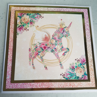 Unicorn, pink faux glitter handmade greeting card - Can be personalised