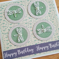 Handmade birthday card - Dragonflies - SALE, REDUCED