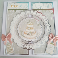 Wedding handmade greeting card - Cherish this special day - Wedding cake