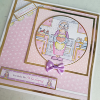 Grandma handmade greeting card - Birthday, Mother's day - Baking