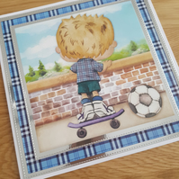 Blonde hair little boy handmade greeting card - Skater boy, skater board, footba