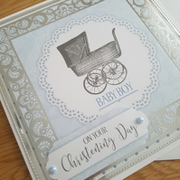 On your Christening day - baby boy - handmade greeting card