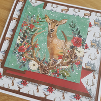 Christmas, Birthday, Anniversary, Blank winter deer handmade greeting card