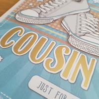 Cousin handmade birthday card - Friends and family collection - Trainers, pumps