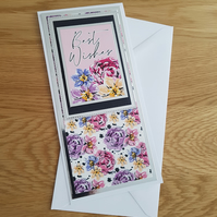Best wishes handmade greeting card - Flowered card, Ladies card, teenager card