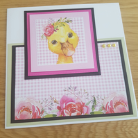 New baby, birthday handmade greeting card - Little duckling, baby duck