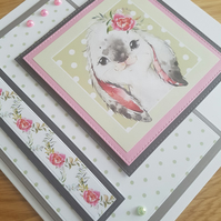 Rabbit handmade greeting card - Sentiment , age , relation to be added