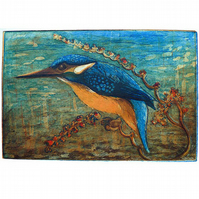 'Kingfisher' Limited Edition Etching, Hand-made Print, British Wildlife