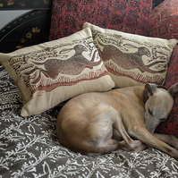 Running Hare - Hand-printed Cushion Covers, cotton, linen, throw, sofa, natural