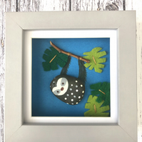 Pebble Sloth Framed Picture