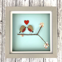Pebble Robins Framed Picture