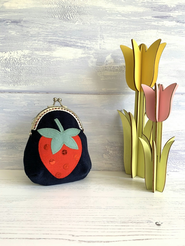 Framed Strawberry Appliqué Purse
