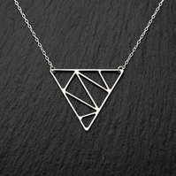 Sterling Silver Geometric Triangle Necklace, Handmade Wire Pendant