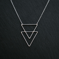 Silver Triangle Necklace, Geometric Sterling Silver Wire Pendant