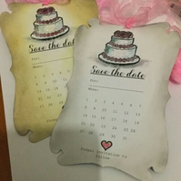 Handmade Save The Date Wedding Cake Notifications - Set of 10 White or Vintage