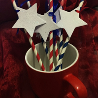 Stars And Stripes American Paper Straws Set of 6 - Blue and Red Striped 4th July