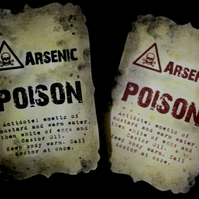 Handmade Arsenic Poison Halloween Bottle Stickers - Set of 8 red and black
