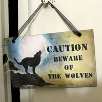 Moonlight Beware Of The Wolves Halloween Caution Sign Prop 2