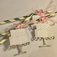 Silver anad white Striped Paper Straws with Wedding Cake Tags x 6