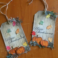 Handmade Happy Thanksgiving Tags, Set of 5
