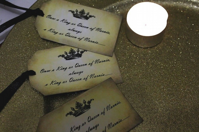 Narnia Quote Vintage Style Tags, Once a King or Queen - Set of 10