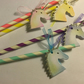 Coloured Striped Straws With Unicorn  Tags x 8