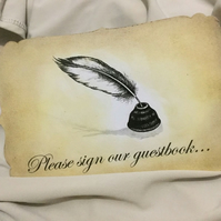 Please Sign Our Guestbook Wedding Party etc  Vintage Sign