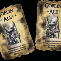 Goblin Ale Labyrinth Bottle Stickers - Set of 8 Halloween etc