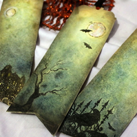 Halloween Bookmarks - Gift Party Favours, Haunted House, Raven and Bats