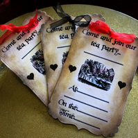 Come And Join Our Tea Party, Alice in Wonderland Vintage Style Invites x 10