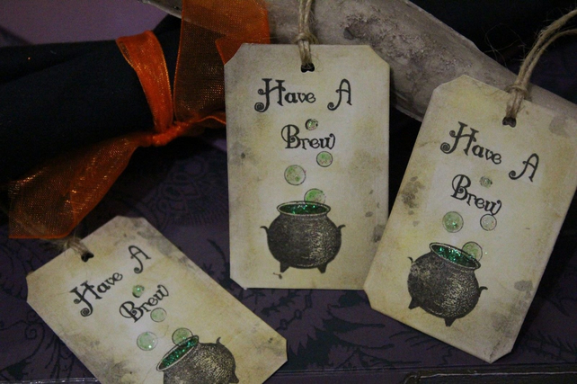 Have A Brew Halloween Witches  Tags - Set of 10 Halloween