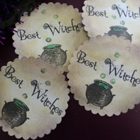 Halloween 'Best Witches' Cauldron Favour Bag or Envelope Stickers x 10