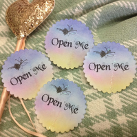 OPEN ME Fairy Stickers, Labels or Envelope Seals - 10