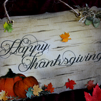 Happy Thanksgiving Sign and Decoration - Maple Leaves Etc