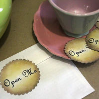 OPEN ME Fancy Script Vintage Style Stickers, Labels or Envelope Seals 10